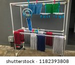 rag hanging and drying on... | Shutterstock . vector #1182393808