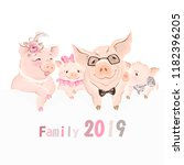 happy family of pigs  dad  mom... | Shutterstock .eps vector #1182396205
