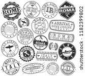 rome italy stamp vector art... | Shutterstock .eps vector #1182399802