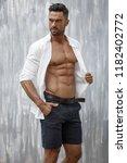 portrait of handsome man in...   Shutterstock . vector #1182402772