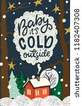 baby its cold outside hand... | Shutterstock .eps vector #1182407308