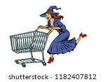 halloween witch. isolate on... | Shutterstock .eps vector #1182407812