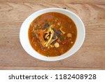 bowl of tortilla soup   Shutterstock . vector #1182408928