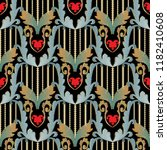 striped embroidery baroque 3d... | Shutterstock .eps vector #1182410608
