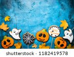 halloween gingerbread cookies   ... | Shutterstock . vector #1182419578