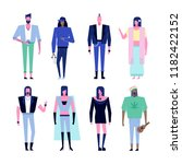colorful flat characters... | Shutterstock .eps vector #1182422152