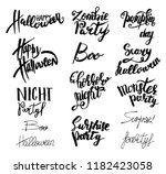 set of happy halloween text.... | Shutterstock .eps vector #1182423058