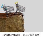 two shopping trolleys on the... | Shutterstock . vector #1182434125