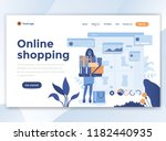 landing page template of online ... | Shutterstock .eps vector #1182440935