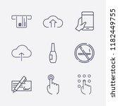 outline 9 finger icon set.... | Shutterstock .eps vector #1182449755