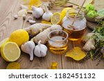 honey  garlic  herbs  lemon and ... | Shutterstock . vector #1182451132
