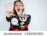 serious sad woman having... | Shutterstock . vector #1182452302