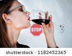 serious sad woman having... | Shutterstock . vector #1182452365