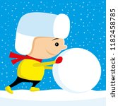 child pushes a big snowball on...   Shutterstock .eps vector #1182458785
