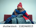 bearded sick man with flue... | Shutterstock . vector #1182460015