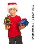 happy boy with santa hat... | Shutterstock . vector #118246012