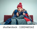 bearded sick man with flue... | Shutterstock . vector #1182460162