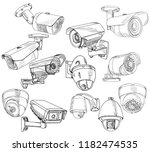 set of sketches  cctv camera | Shutterstock .eps vector #1182474535