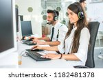 portrait of call center worker... | Shutterstock . vector #1182481378