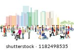 city with groups of people ... | Shutterstock . vector #1182498535