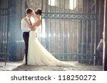 wedding pair hugging and... | Shutterstock . vector #118250272