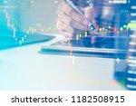 double exposure business people ... | Shutterstock . vector #1182508915