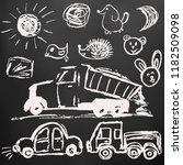 children's drawings. elements... | Shutterstock .eps vector #1182509098