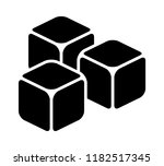 three ice cubes or sugar cubes... | Shutterstock .eps vector #1182517345