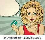 beautiful  blonde woman  in pop ... | Shutterstock .eps vector #1182521098