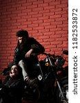 born to ride. biker couple born ... | Shutterstock . vector #1182533872