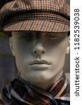 male mannequin in checkered cap ... | Shutterstock . vector #1182539038