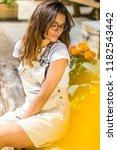 portrait young brunette... | Shutterstock . vector #1182543442