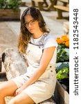 portrait young brunette... | Shutterstock . vector #1182543448