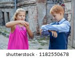 boy and girl spend fun on... | Shutterstock . vector #1182550678