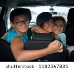 family in car travel during... | Shutterstock . vector #1182567835