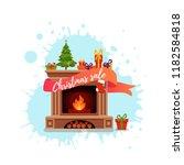 christmas fireplace room... | Shutterstock .eps vector #1182584818