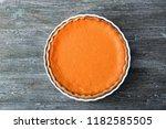 baking dish with tasty pumpkin... | Shutterstock . vector #1182585505