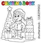 coloring book christmas elf... | Shutterstock .eps vector #118259002