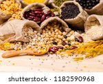 dry beans for good health copy...   Shutterstock . vector #1182590968