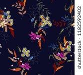 retro wild seamless flower... | Shutterstock .eps vector #1182592402