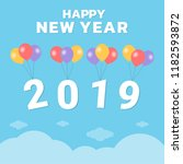 happy new year 2019 text with... | Shutterstock .eps vector #1182593872