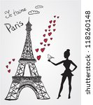 Eiffel Tower And Girl With Bird