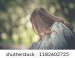 beautiful thai woman very sad... | Shutterstock . vector #1182602725
