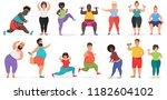fat cute people doing fitness...   Shutterstock .eps vector #1182604102