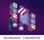 online shop by mobile phone... | Shutterstock .eps vector #1182604702