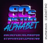 80s retro alphabet font.... | Shutterstock .eps vector #1182607342