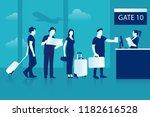 air flight check queue. airport ... | Shutterstock .eps vector #1182616528