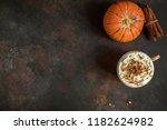 pumpkin spice latte. cup of... | Shutterstock . vector #1182624982