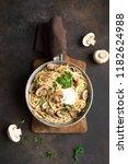 mushroom spaghetti pasta and...   Shutterstock . vector #1182624988
