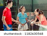 three young cheerful players... | Shutterstock . vector #1182630568
